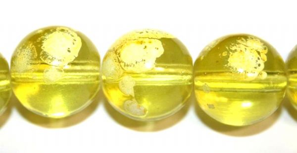 42pieces x 14mm Yellow colour round shape bubble gum glass beads / speckled glass beads -- 3005134